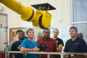 Our Industrial Maintenance students receive hands-on training while creating, executing, testing and modifying robot programs.