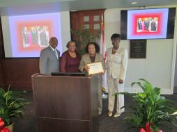 President Munnerlyn, Betty Edwards, Dorothy Peten and Dr. Whiting